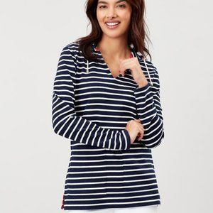 Joules Lisa navy cream long sleeve v-neck pop over hoodie size 14